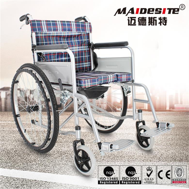 Lightweight manual wheelchair with toilet front solid tires