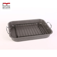 S.S handle 2pcs iron metal Carbon Steel marble coating baking roaster with rack BBQ grill pan
