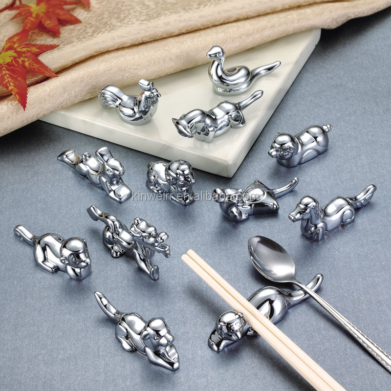 Wholesale Stainless steel health chopsticks holder with animal shaped