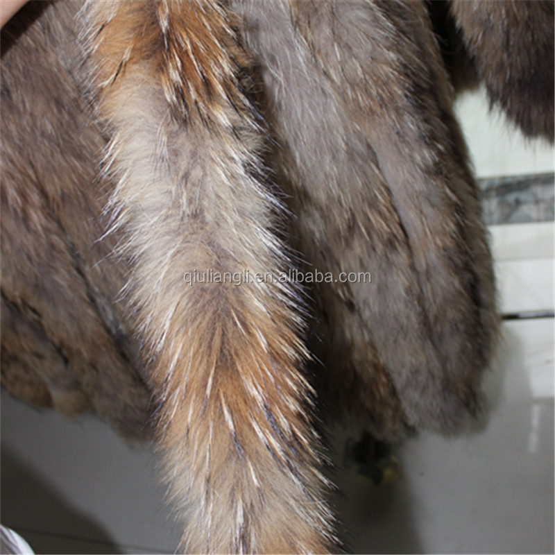 China Supplier Custom Color Real Raccoon Fur Trim For Hood Fur Strip