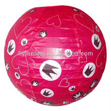 wholesale Chinese round printed paper lantern for supermarket sale