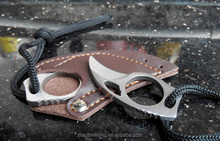 "Handmade Combat Tactical Claw hobby survival Karambit Ring 3"" Knife Card knife credit card knife+Leather Sheath"