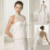 Delicately 2015 High Neck Sleeveless Full-Length Tulle Made A-Line Wedding Dress Alibaba Bridal Gown Online Shop China NB1035