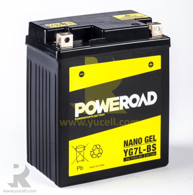 Poweroad True Nano Gel battery Powersports / Motorcycle Battery YG7L-BS replace acid pack MF YTX7L-BS