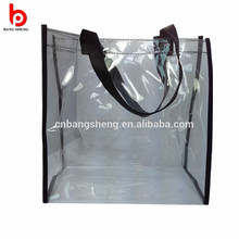 Transparent clear plastic carry bags, pvc shopping bag