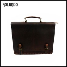 Fancy brand name genuine leather laptop briefcase tool bag