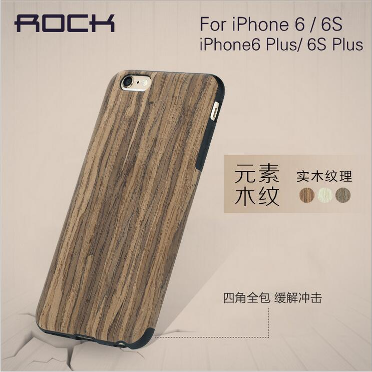 Rock Brand Wood Grain Solid Wood + TPU Best Quality Mobile Phone Cover Case for Iphone 6 / 6 Plus