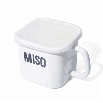Plain White coffee bean and sugar enamel storage box with a single handle and  lid
