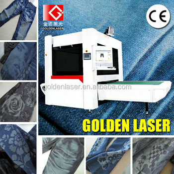automatic machine for laser marking on denim jeans
