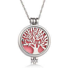 Stainless Steel Tree Aroma Diffuser Locket <strong>Necklace</strong> Family Tree Perfume Locket <strong>Necklace</strong>
