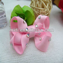 Hot sale new baby handmade bowknot with diamonds hair clip ribbon bow
