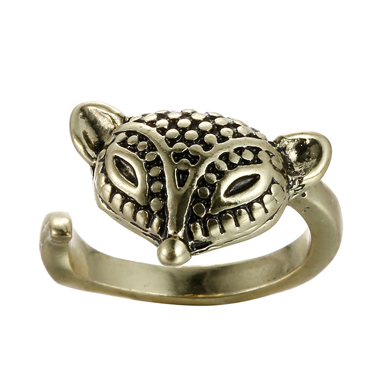 Silver Bronze Plated Fox Knuckle Ring Animal Open Mouth women Rings