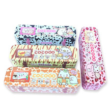 Factory directly supply big capacity funny tin pencil case for kids