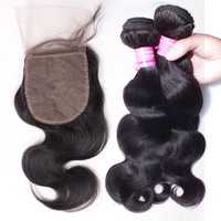 Free Shipping 3 Bundles with Silk Base Closure Body Wave 100% Virgin Brazilian Hair, Wholesale Brazilian Hair Weave