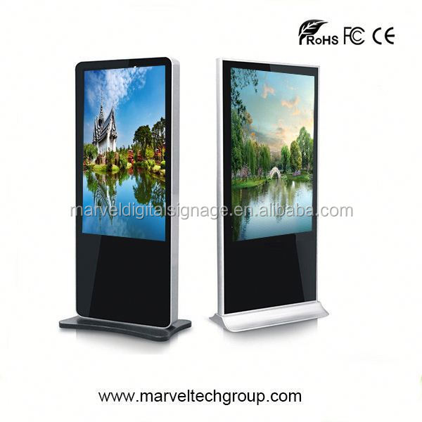 Stand alone indoor wireless wifi lcd signage totem with brochure holder