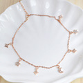 Wholesale delicates jewelry rose gold star moon rhinestones galaxy necklace