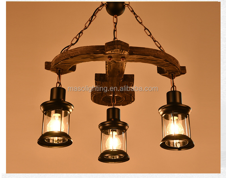 Maso arrow hanging lamp vintage antique hanging indoor lighting fixture wood color E26 chandelier lamp