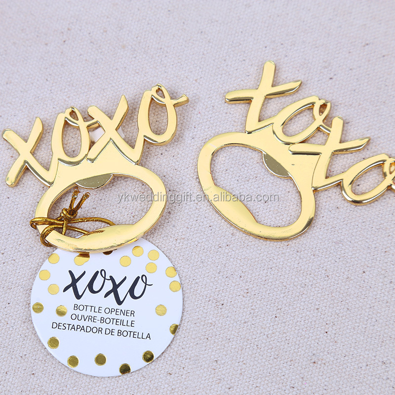 New Arrival XOXO Gold Bottle Opener Favors Metal XO Wine Opener Wedding Party Bridal Shower Favor Guest Gifts wedding return gif
