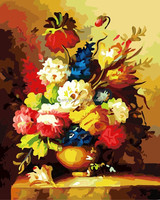 2014 new pictures new design beautiful flowers oil painting by numbers