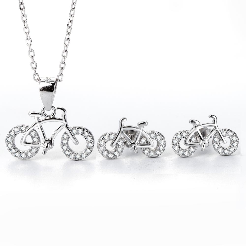 manufacturer's special 925 silver bicycle set <strong>jewelry</strong>
