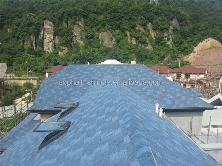 Cheap Building Materials , Blue Roofing Shingles Asphalt Sale for Prefab House