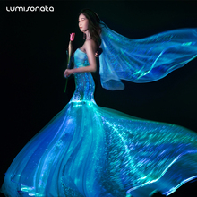 2017 hot luminous fiber optic glow in the dark formal led wedding dress