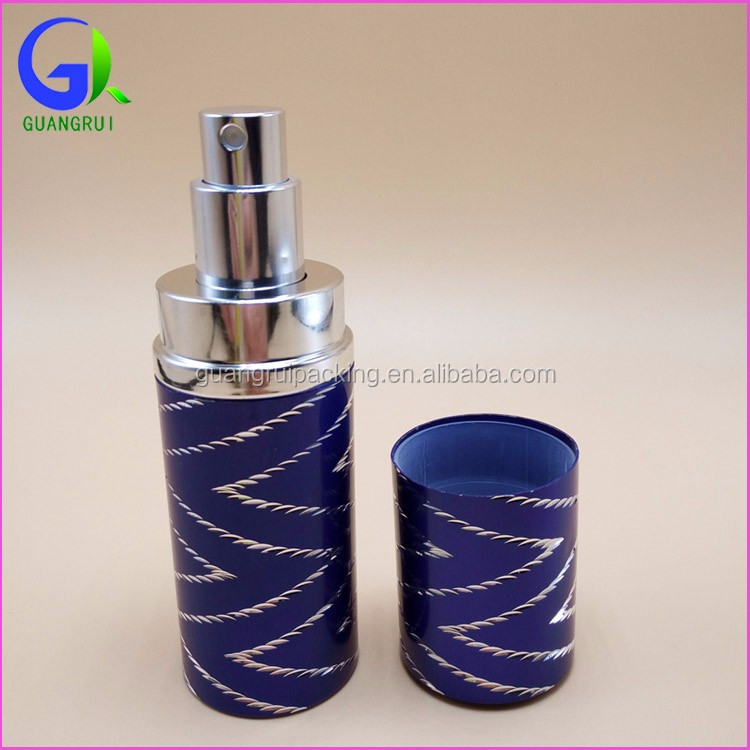 Wholesale 40ml UV gel glass tube bottle empty glass bottle aluminum atomizer perfume with aluminum cap grx007