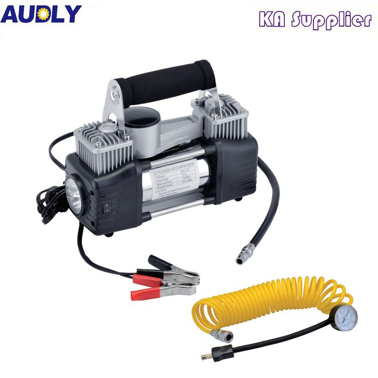 Double cylinder automatic tire inflator potable car electric air compressor with LED Lighter