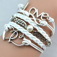 Silver Infinity heart Love angel wing Charm 10 colors Wax Cord Braided PU Leather Awareness Ribbon Bracelet free shipping