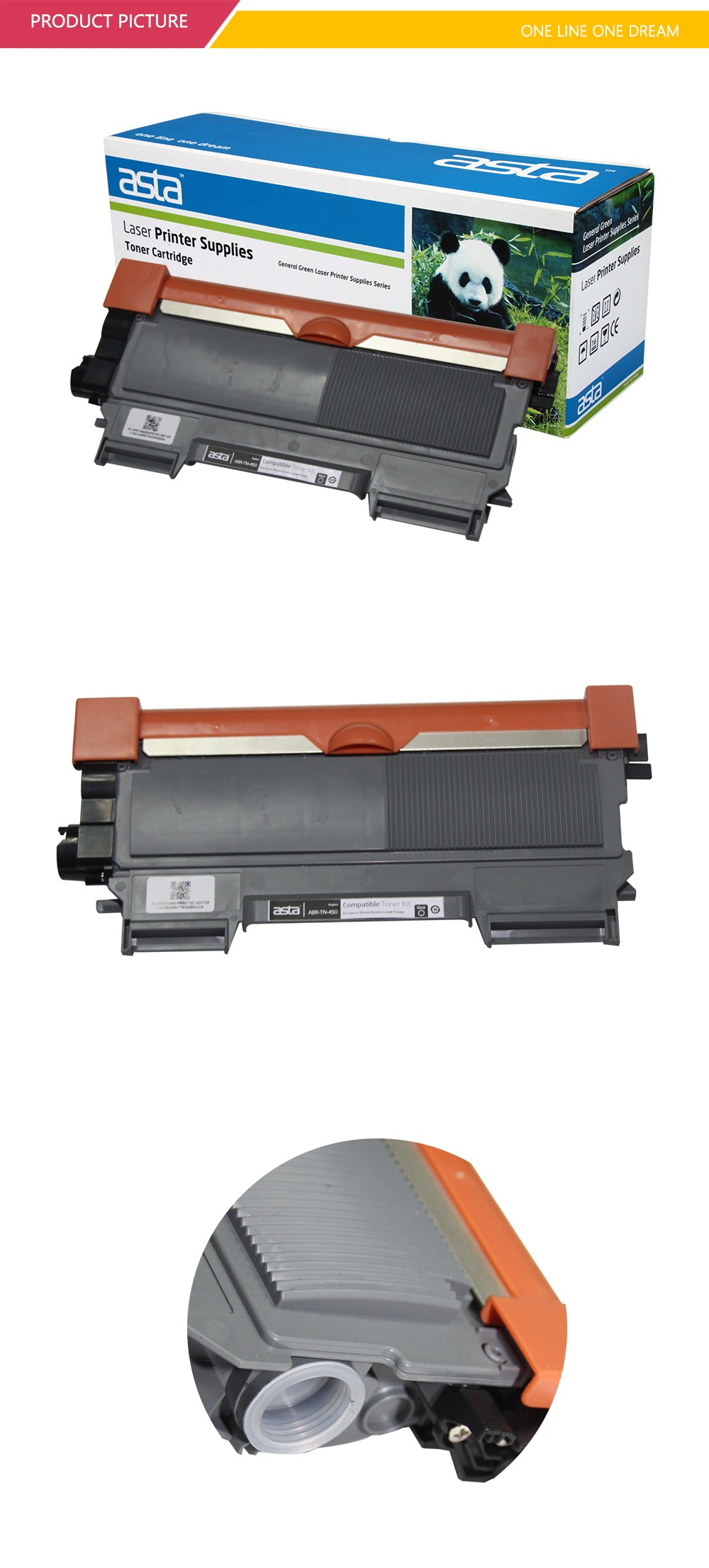2016 ASTA printers cartridges laser printer with black toner for Brother TN-450