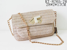 Paper Straw With PU Leather Message Shape Ladies Cross Body Handbag