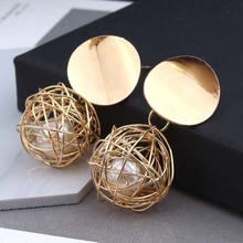 2018 retro geometric earrings simple woven ball imitation pearl metal accessories female jewelry wholesale