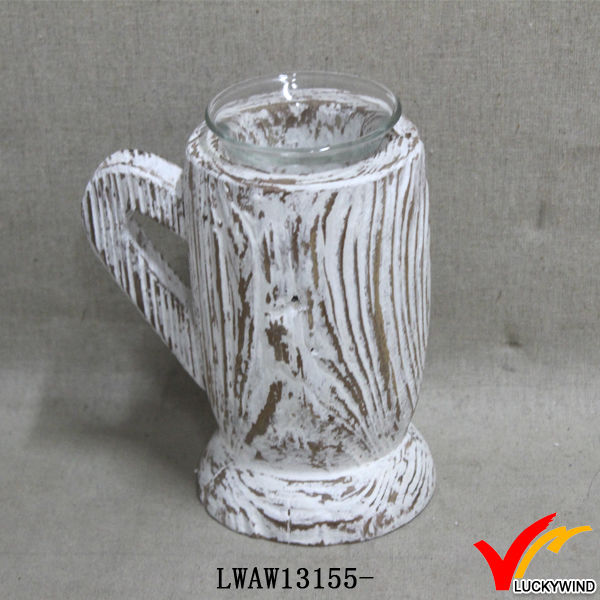 white wash handmade wooden cup design personalized rustic tea light holder