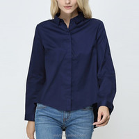 New model women's loose after short before long long sleeve shirts thailand wholesale clothing