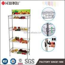 Adjustable 4 Tiers Supermarket Wire Basket Display Rack With NSF Approval