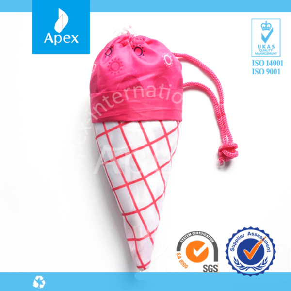 Ice-cream drawstring bag or nylon foldable tote bag