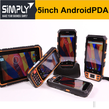 SIMPLY T5 5inch 3G wifi 3-proof android handheld computer industrial pda with 1d barcode laser scanner