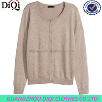 elegant girl acrylic sweater cardigan one line button front ,rib neck and cuff style , cheap sweater ,