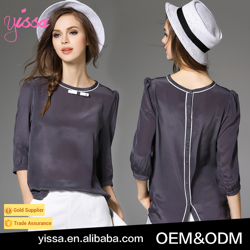 YISSA 2016 Hot Sale Wholesale Top Quality Solid Color Long Sleeve Fitness Satin Blouse Women Shirt