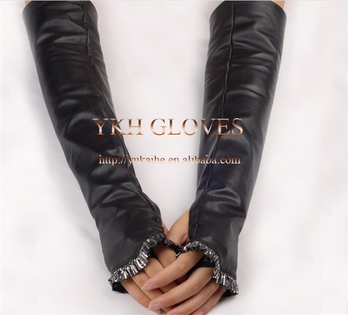 Women sexy fingerless long wearing leather gloves for evening part