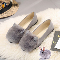Cute Rabbit Hair Flat Shoes China