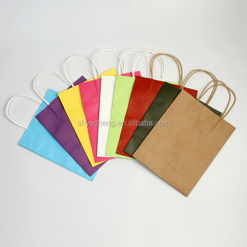 Eco printed cheap recycled brown kraft paper carrier bags manufacturer