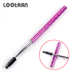 High Quality Makeup Tools Purple Diamond Dots Metal Handle Eyelash Mascara Brush Free Samples