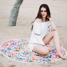 Europe market 100% organic cotton roundie full color photo printed beach towel