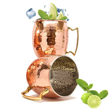 Hammered Copper Coated Moscow Mule Beer Mugs With Brass Handle For Sale,16 Oz Capacity