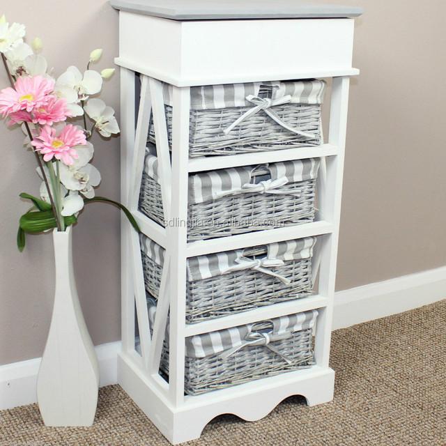 Fashion White Grey Drawer Wicker Basket Wood Chest Display Cabinet