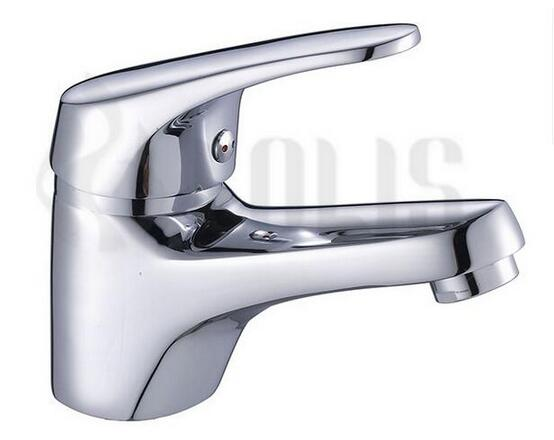 Chrome finish brass hot and cold water tap bathroom sink faucet