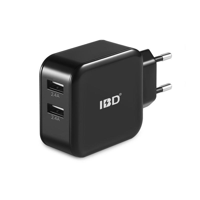 Manufacturer direct supply 5v 4.8a 2 port usb 24w folding wall charger
