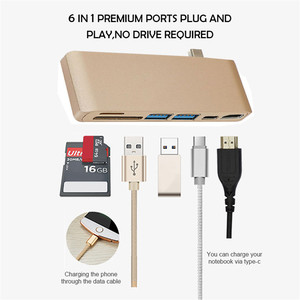 "Laptop Accessories 6 in 1 Aluminum Type-C Hub Adapter 5Gbps USB 3.0 Ports Type-C Charging Port for MacBook Pro 13 ""15 """