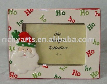 Ceramic photo frame Christmas design hand made